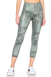 Beyond Yoga Lux Print Walk And Talk High Waisted Capri Legging Green