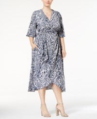 Melissa Mccarthy Seven7 Trendy Plus Size Printed Faux Wrap Dress Abstract Leopard