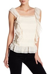 Romeo And Juliet Couture Sleeveless Woven Lace Ruffle Blouse Beige