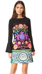 Cynthia Rowley Floral Tweed Strapless Dress Black Multi
