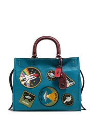 Coach Space Patch Satchel Blue Multi