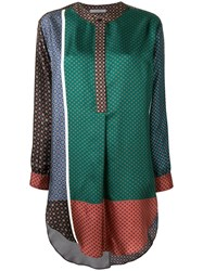Dusan Patchwork Flared Blouse Green