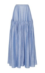 Co Japanese Ramie Tiered Skirt Blue