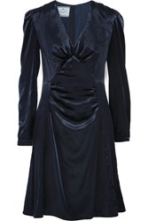 Prada Ruched Velvet Dress Midnight Blue