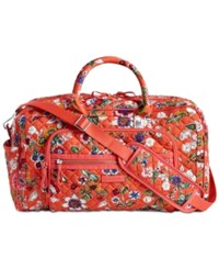 Vera Bradley Iconic Compact Extra Large Weekender Travel Bag Coral Floral