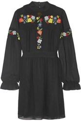 Anna Sui Embroidered Georgette Mini Dress Black