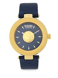Versus By Versace Stainless Steel Blue Dial Leather Strap Watch Gold
