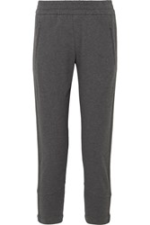 Brunello Cucinelli Embellished Stretch Cotton Jersey Track Pants Gray Gbp