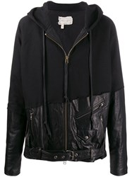 Greg Lauren Mixed Material Hooded Jacket Black