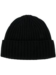 N.Peal Chunky Ribbed Knit Beanie Hat Cashmere Black