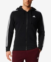 Adidas Men's Essential Fleece Zip Hoodie Black White