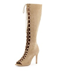 Joie Aubry Suede Lace Up Open Toe Knee Boot Cement Silver