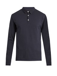 Hamilton And Hare Long Sleeved Cotton Polo Shirt Navy