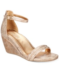 Kenneth Cole Reaction Women's Cake Icing Wedge Sandals Women's Shoes Soft Gold