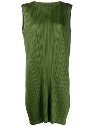 Issey Miyake Pleats Please By Pleated Shift Dress Green