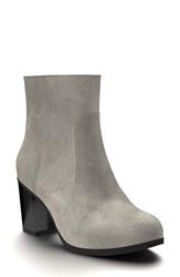 Shoes Of Prey Women's Block Heel Bootie Dark Gray Leather