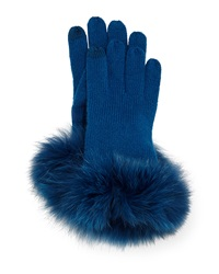 Sofia Cashmere Cashmere Tech Gloves W Fox Fur Cuff