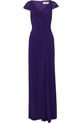 Badgley Mischka Embellished Stretch Jersey Gown