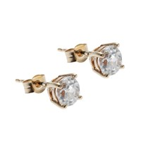 Nina B 9Ct Yellow Gold 4 Claw Setting Cubic Zirconia Stud Earrings