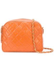 Chanel Vintage Quilted Camera Shoulder Bag Women Caviar Leather One Size Yellow Orange