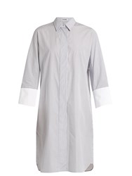 Jil Sander Canvas Striped Cotton Shirtdress White Stripe