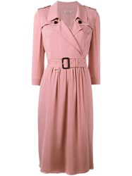 Burberry Belted Wrap Dress Pink Purple