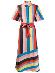 Chinti And Parker Striped Shirt Dress Blue