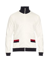 Gucci Contrast Trim High Neck Track Top White Multi