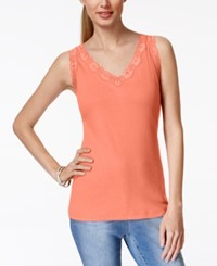 Karen Scott Sleeveless Lace Trim Tank Top Only At Macy's Coral Lining