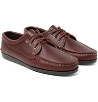 Quoddy Blucher Full Grain Leather Boat Shoes Burgundy