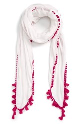 Lulla Collection By Bindya Women's Linen Scarf Pink White