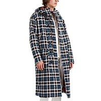R 13 Reversible Oversized Plaid Cotton Flannel Coat Blue Pat.