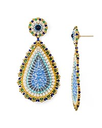 Miguel Ases Teardrop Drop Earrings Multi
