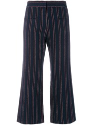 Carven Striped Cropped Trousers Cotton Viscose Linen Flax Polyamide Blue