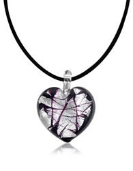 Antica Murrina Veneziana Passione Murano Glass Heart Pendant Black White