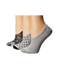 Converse Chucks Mono Floral And Dots 3 Pair Pack Grey Women's No Show Socks Shoes Gray
