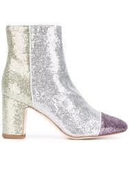 Polly Plume Glitter Ankle Boots Women Cotton Leather 37 Metallic