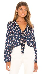 Bcbgeneration Bow Front Bell Sleeve Blouse In Blue. Indigo