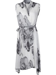 Forme D'expression Flower Print Wrap Dress White