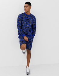 Soul Star Co Ord Printed Jersey Shorts Blue