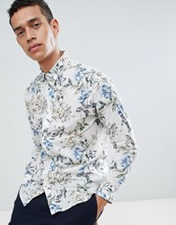 Selected Homme Slim Short Sleeve Shirt With Floral Print Egret Aop White