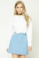 Forever 21 Denim Wrap Mini Skirt Heather Denim