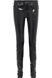 Rick Owens Coated Mid Rise Skinny Jeans Black