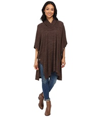 Bobeau Poncho Knit Mocha Women's Coat Brown