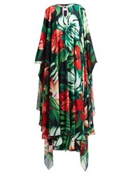 Richard Quinn Crystal Embellished Hibiscus Print Crepe Gown Green Multi
