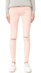Hudson Nico Mid Rise Super Skinny Jeans Sunkissed Pink Destructed