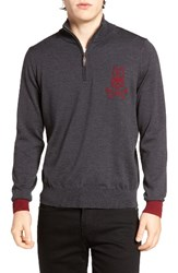 Psycho Bunny Men's Quarter Zip Pullover Charcoal