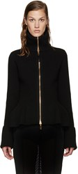 Alexander Mcqueen Black Wool Zip Up Sweater