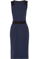 Raoul Suede Paneled Twill Dress Blue