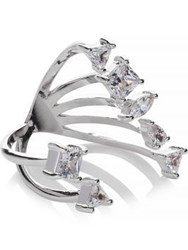 Cz By Kenneth Jay Lane Multi Cubic Zirconia 2 Part Ring Silver